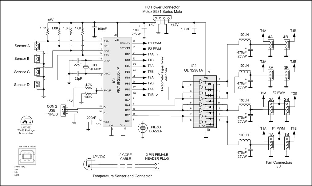 geoff s projects intelligent fan controller rh geoffg net USB Connection Wiring Diagram USB Power Wiring Diagram