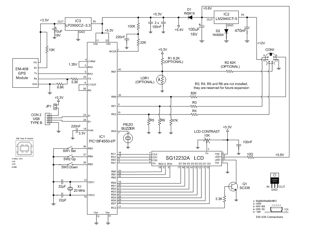 geoff's projects  building the car or boat computer, schematic