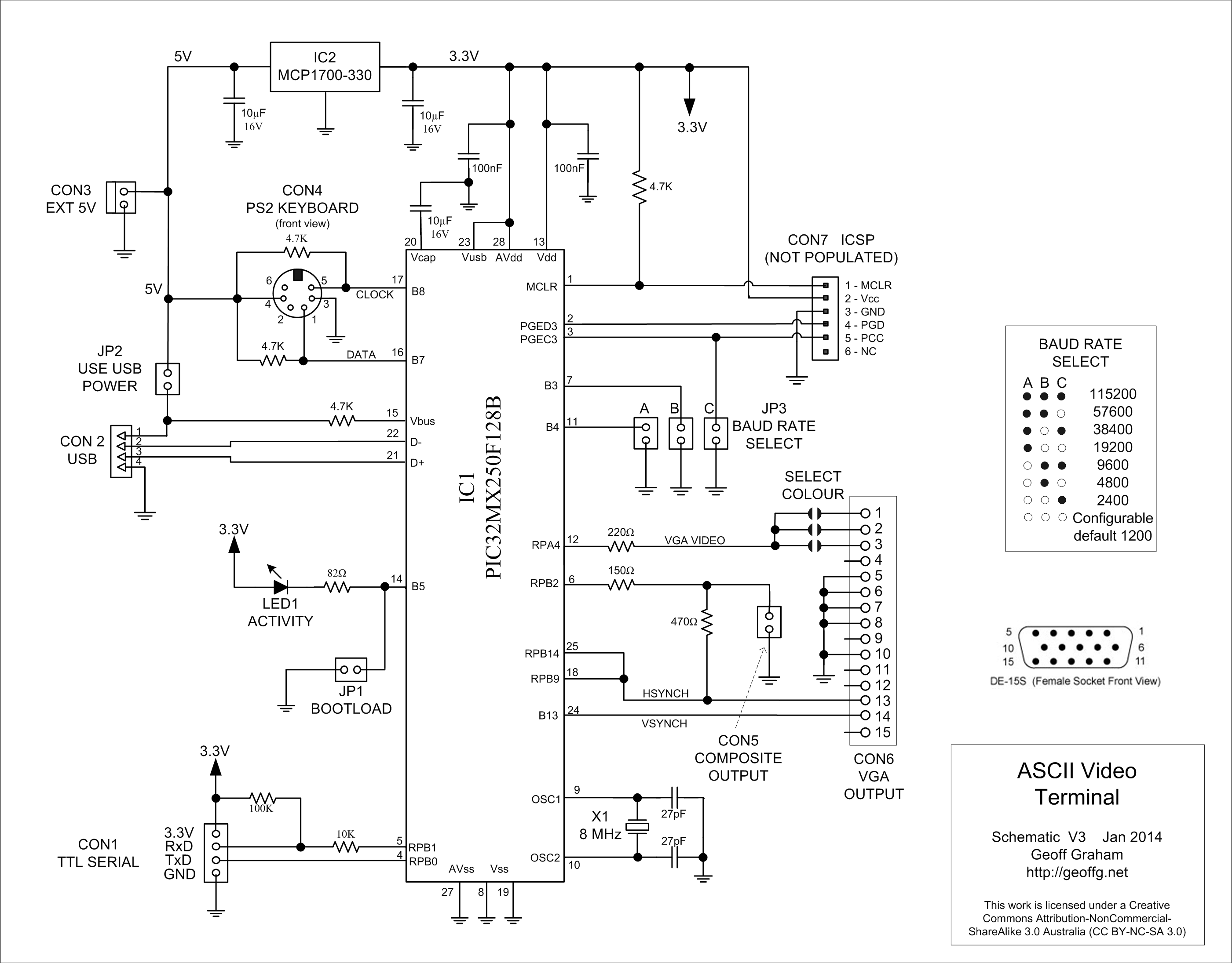 Geoffs Projects Ascii Video Terminal Power Monitor Schematic The Only Other Significant Component Is A Three Regulator Used To Provide 33v Microcontroller
